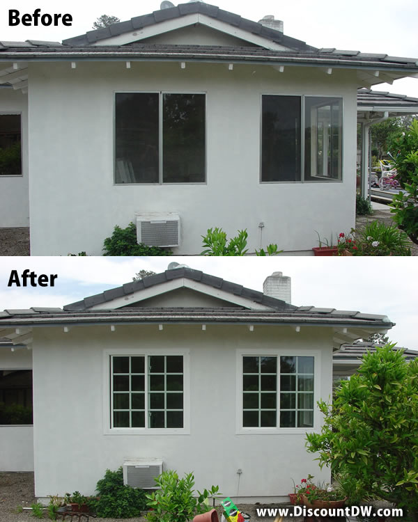 Before and After aluminum window to Vinyl window replacement