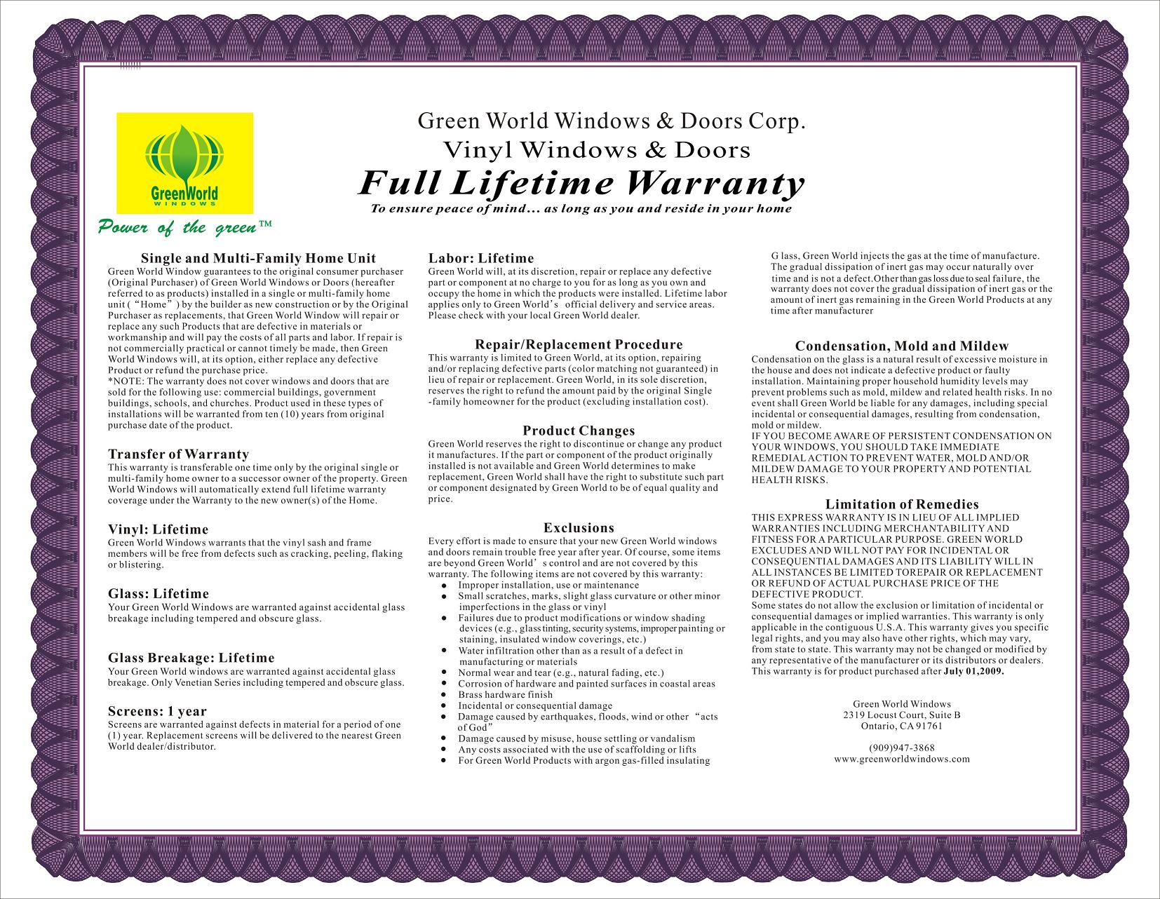 Green World Warranty Information