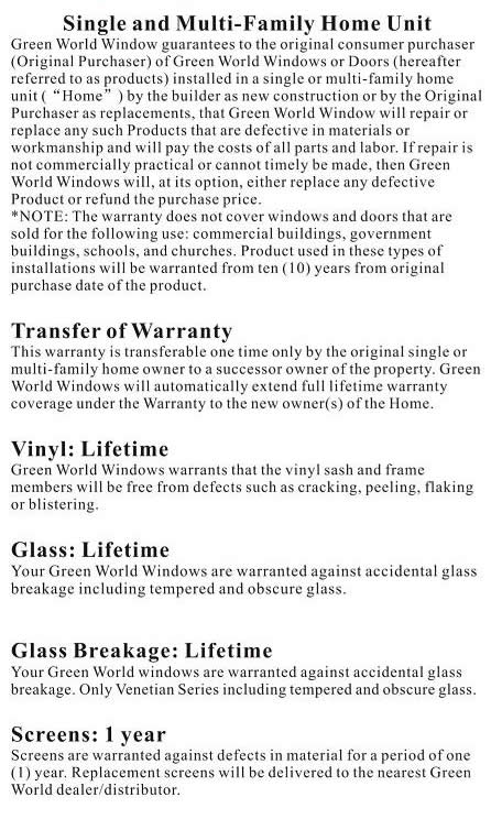 Green World Warranty Information 1 of 3