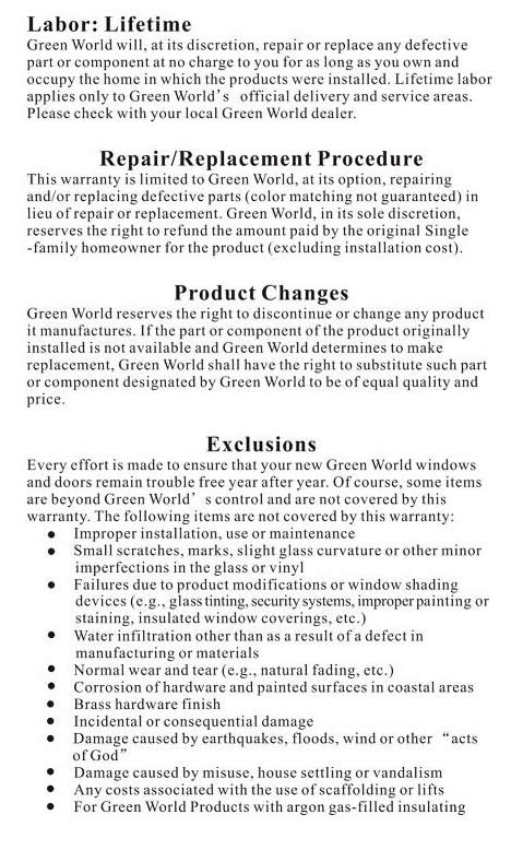 Green World Warranty Information 2 of 3