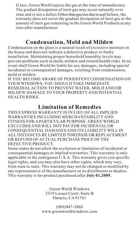 Green World Warranty Information 3 of 3
