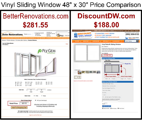 Vinyle Retrofit Sliding Window Price Comparison