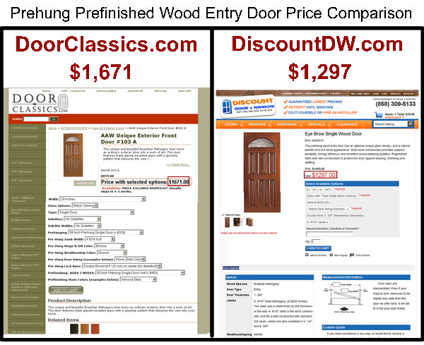 Prehung prefinished wood entry door price comparison
