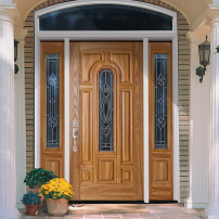 Wood Entry Door with Arched Glaze Style Glass