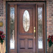 Wood Entry Door with oval glass