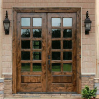 Wood French Door With Grid