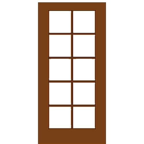 Mahogany Single French Door with 10/5 Glass Prehung