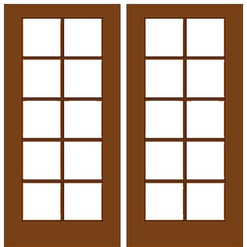 Mahogany Wood Double French Door With 105 Glass Prehung