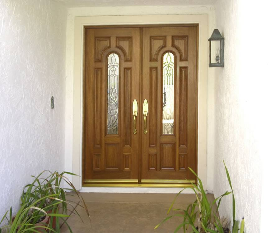 Entry prehung arched glaze double door for Prehung exterior door