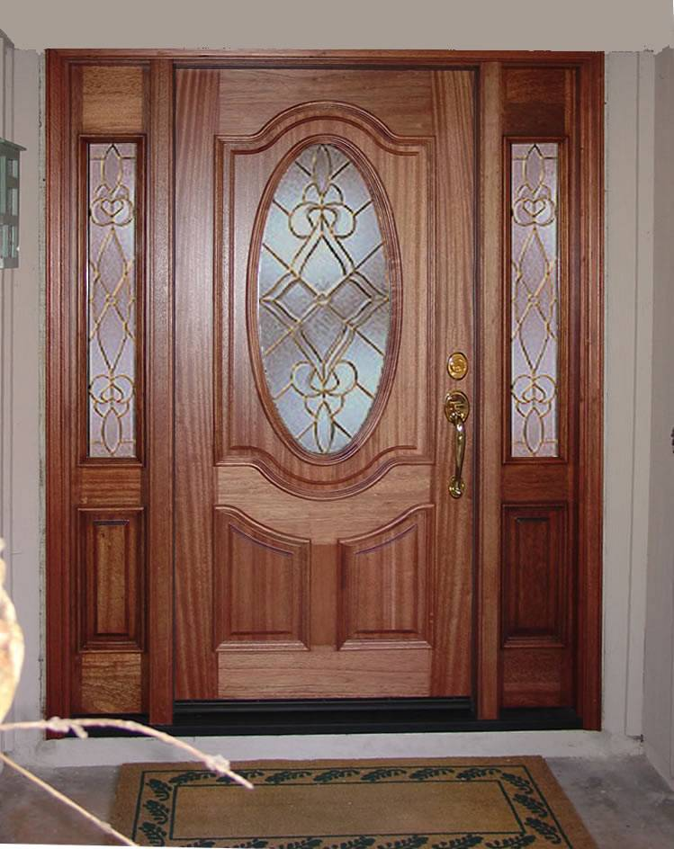 Entry prehung oval glass single wood door with 2 sidelights for Single front entry doors