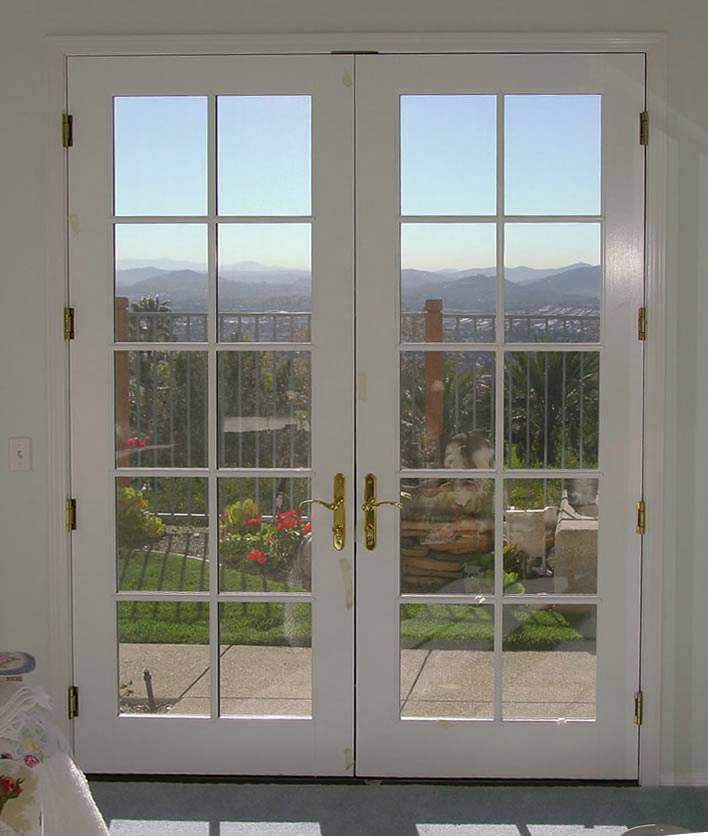 Mahogany wood double french door with 10 5 glass prehung for Glass french doors exterior