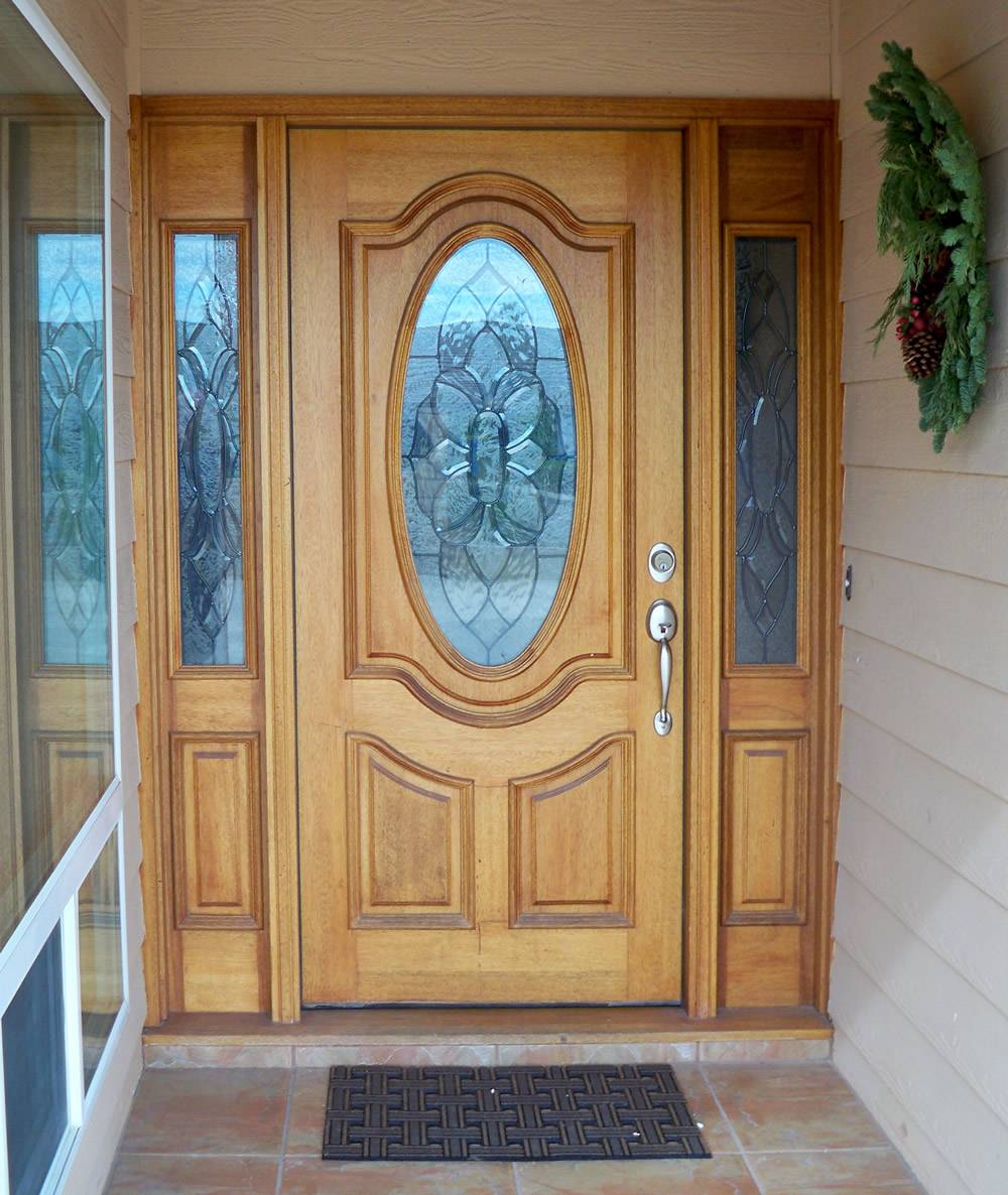 Entry prehung oval glass single wood door with 2 sidelights for Single glass exterior door