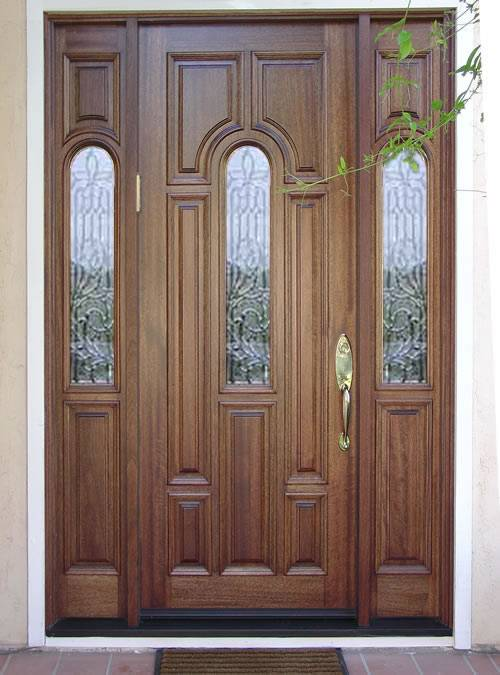 Entry Prehung Arched Glaze Single Wood Door With 2 Sidelights