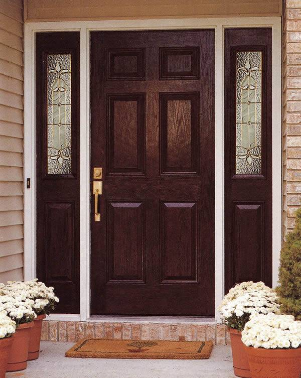 Entry prehung 6 panel textured fiberglass door with 2 for Fiberglass entry doors with sidelights