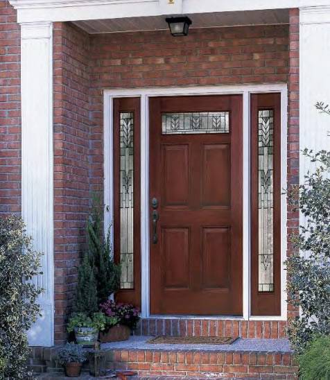 Entry prehung 6 panel top lite fiberglass door with 2 for Fiberglass entry doors with sidelights