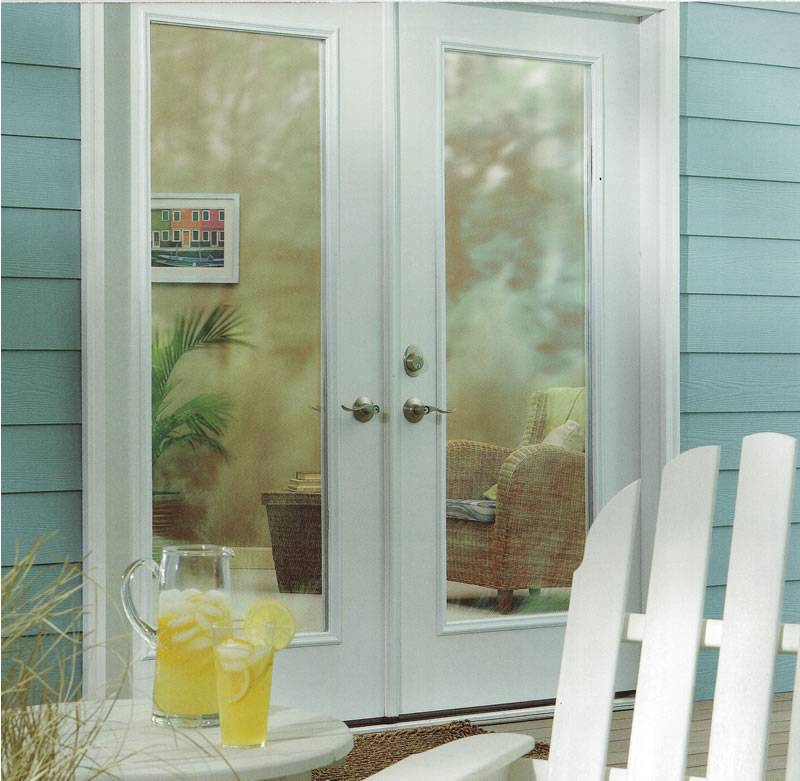 Smooth White Fiberglass French Double Door