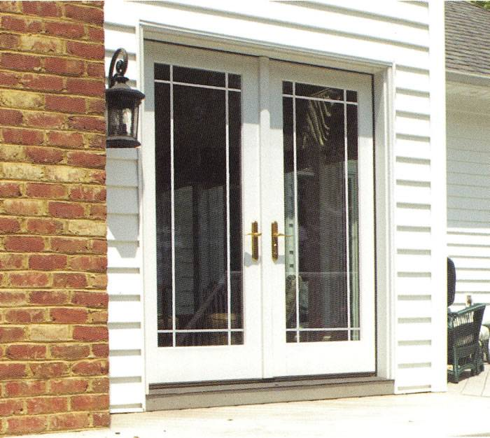 Smooth white fiberglass french double door for Double french doors