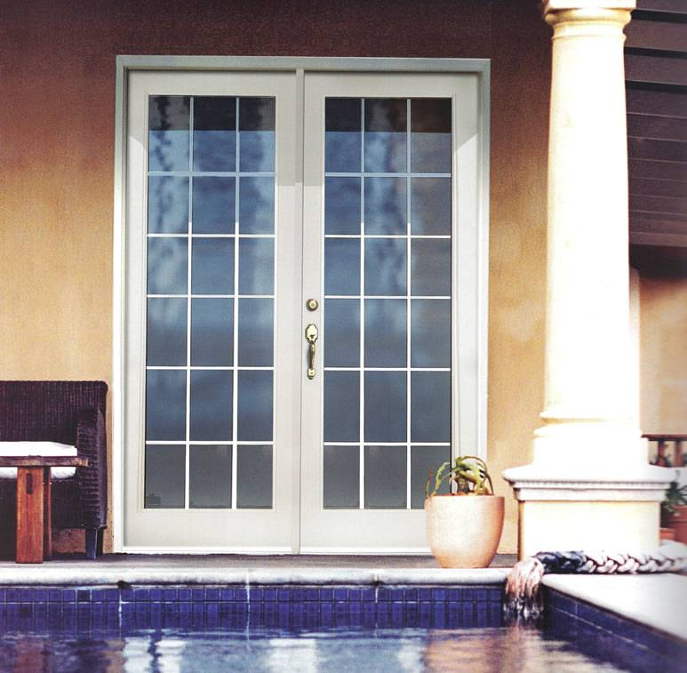 Smooth white fiberglass french double door for Fiberglass french patio doors