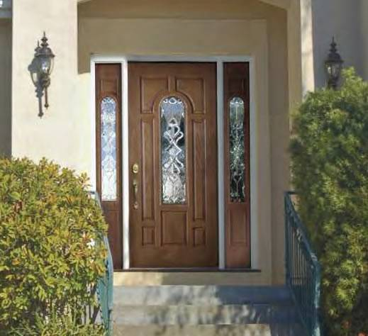 Entry prehung arch glazed fiberglass door with 2 sidelights for Fiberglass entry doors with sidelights