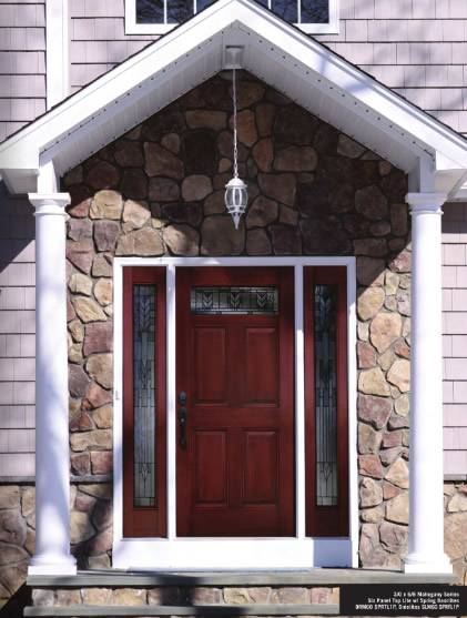 Enjoyable Entry Prehung 6 Panel Top Lite Fiberglass Door With 2 Sidelights Door Handles Collection Olytizonderlifede