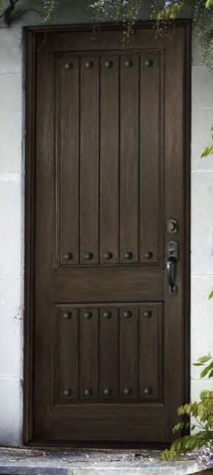 Arch Plank Square Top Rustic Single Fiberglass Door