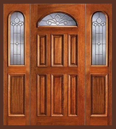 Entry prehung eye brow single wood door with 2 sidelights for Cheap wooden doors
