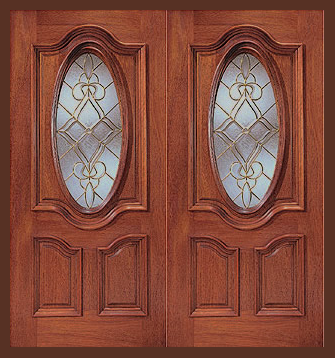 Additional Images & Entry Prehung Oval Glass Wood Double Door