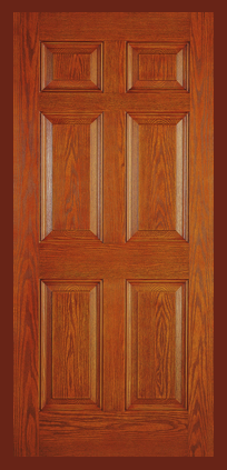Entry Prehung 6 Panel Textured Fiberglass Door