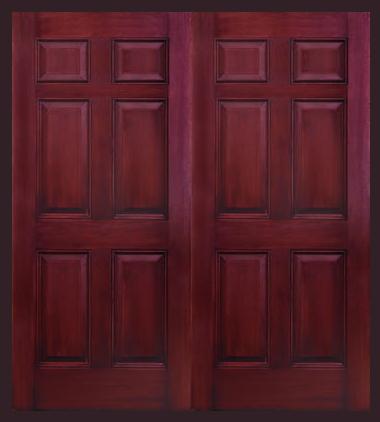 Entry Prehung 6 Panel Textured Fiberglass Double Door