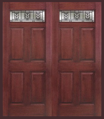 Entry prehung 6 panel top lite fiberglass double door - Double prehung interior doors 6 panel ...