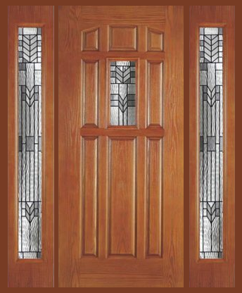 Entry prehung 9 panel decorated glass fiberglass door with for Fiberglass entry doors with sidelights