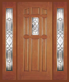 Entry Prehung 9 Panel Decorated Glass Fiberglass Door With
