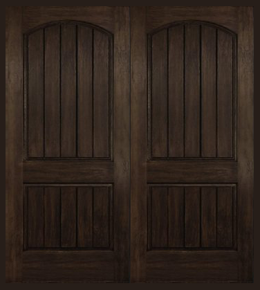 Entry Prehung Arch Plank Square Top Rustic Fiberglass Double Door