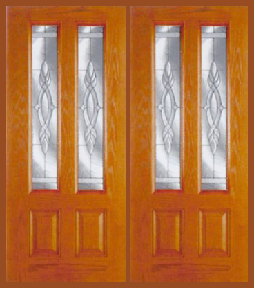 Entry Prehung Vertical Decorated Glass Fiberglass Double Door