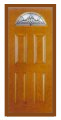 Textured Oak Grain - Entry Prehung 4 Panel Top Lite Fiberglass Door