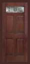 Textured Mahogany Grain - Entry Prehung 6 Panel Top Lite Fiberglass Door