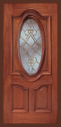 Wood Entry Doors - Entry Prehung Oval Glass Wood Door
