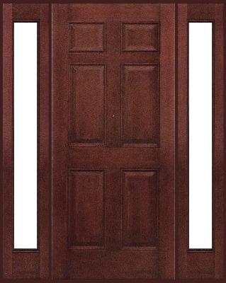 Entry Prehung 6 Panel Textured Fiberglass Door With 2