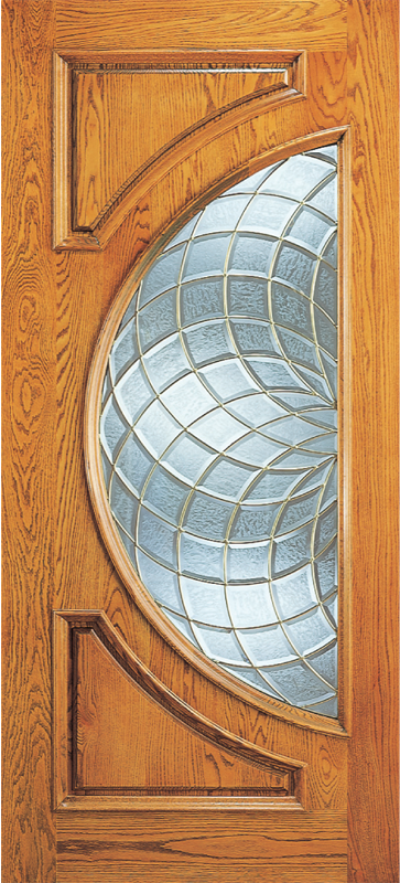 Entry 2 Panel Wood Door With Half Circle Lite