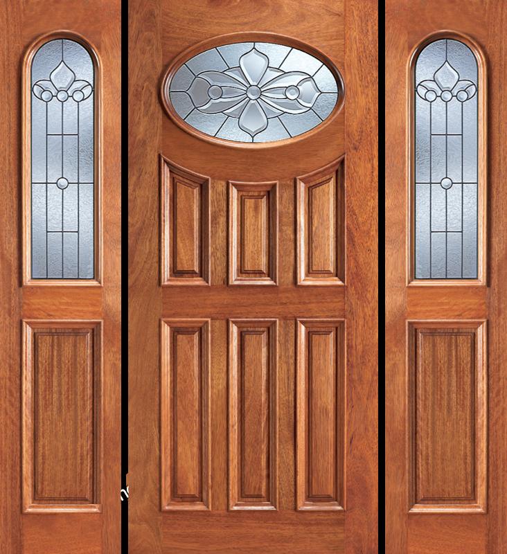 Entry prehung 6 panel oval glass wood door with 2 sidelites for 6 panel glass exterior door