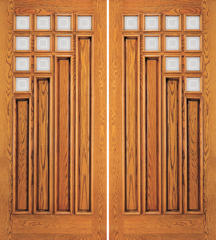 - Entry 4 Panel Wood Double Door With 10 Mini Lites