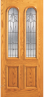 Wood Entry Doors - Entry 2 Panel Wood Door with 2 Rounded Lites