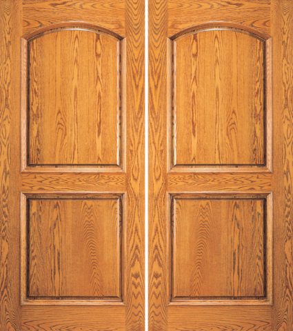 2 Panel Arch Top Mahogany Wood Double Entry Door