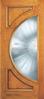 Wood Entry Doors - Entry 2 Panel Wood Door with Half Circle Lite 2
