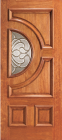 Wood Entry Doors - Entry Half Circle Glass 4 Panel Wood Door
