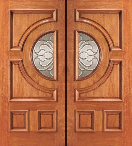 Entry Half Circle Glass 4 Panel Wood Double Door