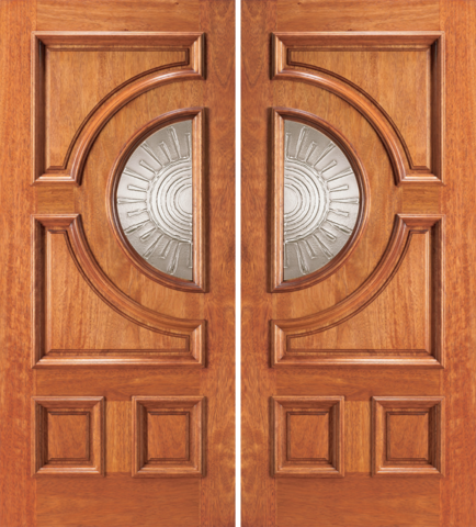 Entry half circle glass 4 panel wood double door 2 for Double wood doors with glass