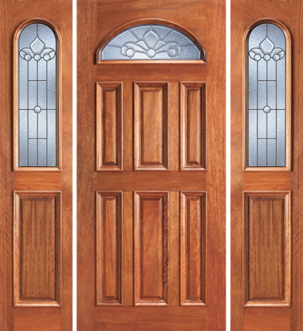 Entry eye brow 6 panel wood door with 2 sidelights for Entry doors with sidelights