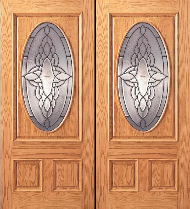 Entry Oval Glass 3 Panel Wood Double Door