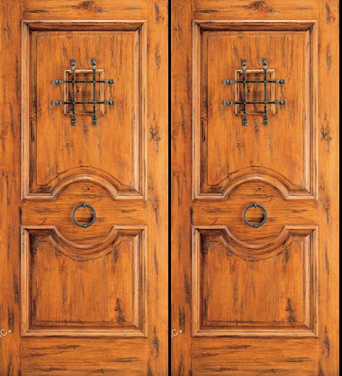 & Western 2 Panel Wood Double Door with Speak Easy